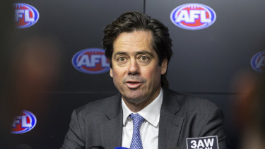 AFL chief executive Gillon McLachlan faces the media.