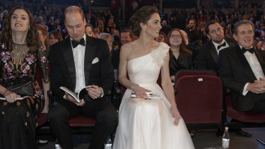 Regally bland ... Prince William and Catherine, Duchess of Cambridge at the BAFTAs.