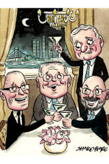 Dinner in the Big Apple: Robert Thomson, Scott Morrison, Nick Greiner and Arthur Sinodinos.