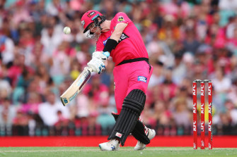 Steve Smith goes on the attack for Sydney Sixers in January.