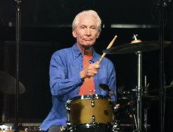 Rolling Stones drummer Charlie Watts performs at the Rose Bowl, Thursday, Aug. 22, 2019, in Pasadena, California.