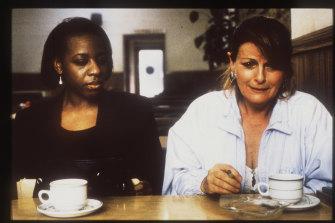 Marianne Jean-Baptiste (Hortense) and Brenda Blethyn (Cynthia) in Mike Leigh's 1996 movie Secrets & Lies.