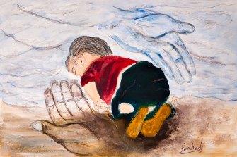 Farhad Bandesh, Kurdish refugee - Aylan - beach.