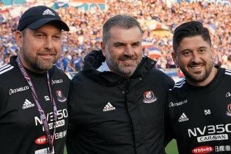 Ange Postecoglou with his Australian assistants at Yokohama F. Marinos, Peter Cklamovski (left) and Arthur Papas.