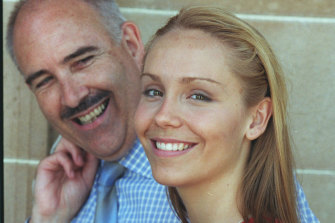 Sarah Irving-Stonebraker with her father Terry Irving, photographed by the Sydney Morning Herald in 1998 after getting her UAI.