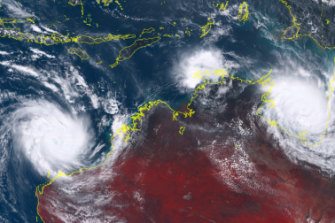 Cyclones Veronica and Trevor seen from the Himawari-8 satellite in March.