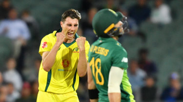 Patrick Cummins dismisses Faf du Plessis in Adelaide on Friday.