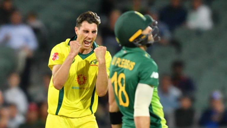 Patrick Cummins dismisses Faf du Plessis in Adelaide on Friday.