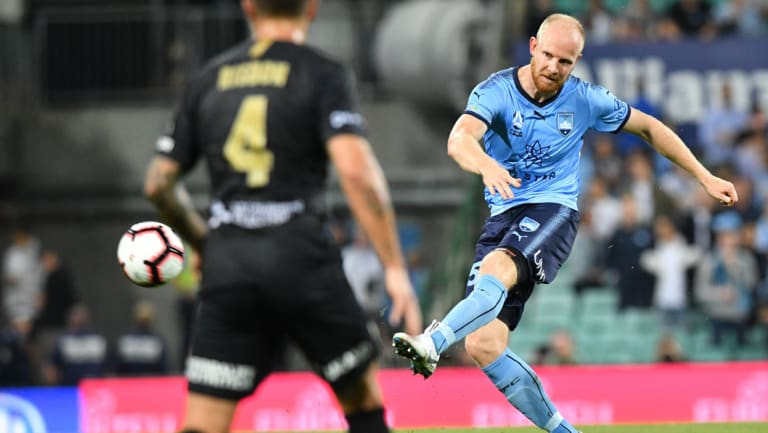 Jop van der Linden in action during Sydney's 2-0 derby win last weekend - the first in a run of three games in six days for the Sky Blues.
