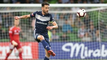 Carl Valeri controls the ball for Victory.