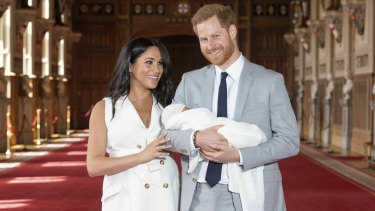 The Duke and Duchess of Sussex and their newborn son.