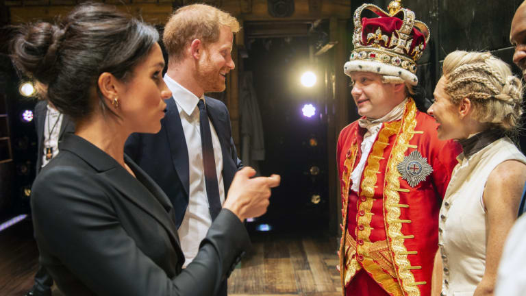 Meghan, Duchess of Sussex and Prince Harry met the London cast of 'Hamilton' this week.