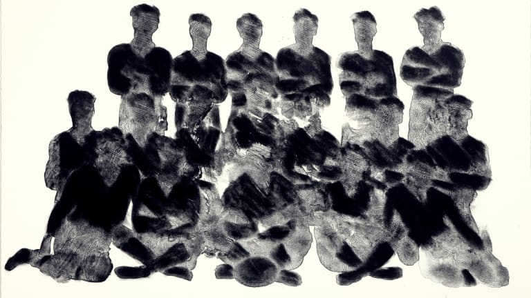 """Champions"", a nod to team photos through history (lithograph, 2009)."