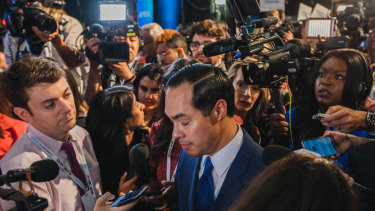 Julian Castro, former secretary of Housing and Urban Development and 2020 Democratic presidential candidate, centre, after the first debate.
