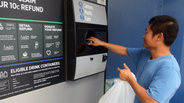 A container-deposit recycling booth in Sydney. The evidence is that the 'return and earn' scheme has generated more than 500 new jobs.