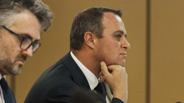 Tim Wilson chairing the franking credit public hearing in Chatswood on Friday.