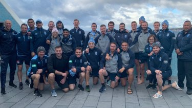 Lessons: Ian Thorpe (bottom row second from left) addressed the NSW Blues players on Friday.