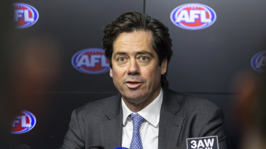 AFL chief executive Gillon McLachlan stands by controversial call that landed Essendon victory.
