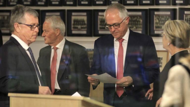 New order: Former prime minister Malcolm Turnbull with NSW party president Philip Ruddock on Monday night.