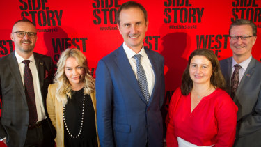 Chief Minister Andrew Barr, GWB Entertainment director Richelle Brookman, Opera Australia executive producer Alex Budd, Canberra Theatre Centre programming manager Gill Hugonnet and arts minister Gordon Ramsey at the 'West Side Story' announcement on Wednesday.