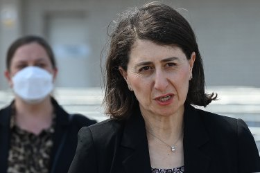 NSW Premier Gladys Berejiklian during the COVID-19 update at the South Western Sydney Vaccination Centre at the Glenquarie Town Centre in Macquarie Fields on Friday.