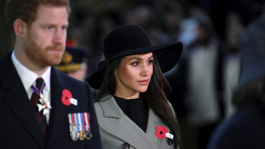 Prince Harry and his then-fiancee Meghan Markle attended the Dawn Service at Wellington Arch in 2018.