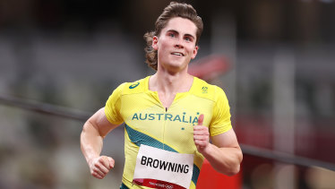 Rohan Browning wins his heat.