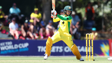 Rachael Haynes in action during Australia's record-equalling victory on Monday.