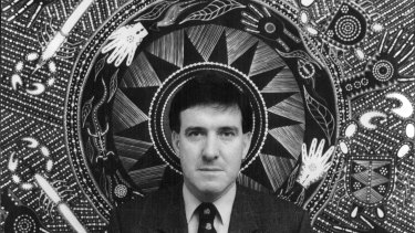 Robert Tickner, as Aboriginal Affairs  minister three decades ago, on the day he tabled the report of the Royal Commission into Aboriginal Deaths in Custody. He stands before Indigenous artist Tex Skuthorpe's work My Vision, a symbol of hope for the coming together of black and white Australians.