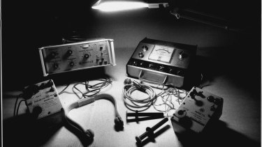 The collection of electro-convulsive therapy machines used by doctors at Chelmsford Hospital.