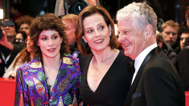 Sigourney Weaver with her daughter Charlotte and husband Jim Simpson at the opening of My Salinger Year in Berlin on February 20, 2020.
