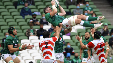 Ireland's Peter O'Mahony is held aloft as he wins a lineout against Japan at Aviva Stadium in Dublin on July 3.