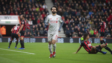 Mohamed Salah celebrates his second goal on the way to a hat-trick and a 4-0 win for Liverpool.