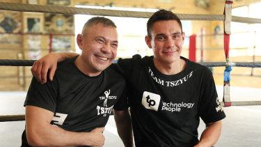 Kostya Tszyu and son Tim in Sydney.