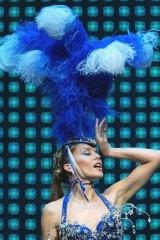Pop princess Kylie Minogue wearing Stephen Jones on her Showgirl tour in 2005.