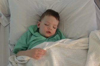 Rex Drury before he was discharged from Perth Children's Hospital.