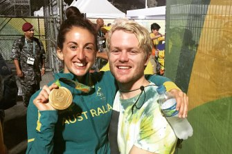 Alicia Lucas with her husband Matt after she won a rugby sevens gold medal at the Rio Olympic Games.