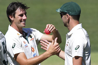 Josh Hazlewood, right, and Pat Cummins, left, had a day to remember.