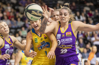 Sydney's Alice Kunek (left) and Melbourne's Cayla George tangle for a loose ball.