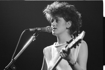 Tracey Thorn photographed onstage with the Marine Girls at the Lyceum Ballroom in London  on March 21, 1983 - the night she met Lindy Morrison.