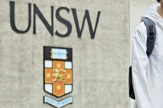 A student at the University of NSW in January, before travel bans were put in place.