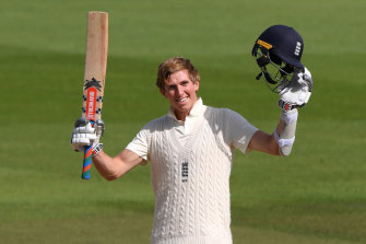 Zak Crawley celebrates reaching his double century.
