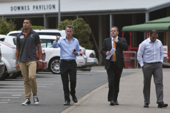 Isaac Moses, right, after Israel Folau's signing with AFL club Greater Western Sydney.