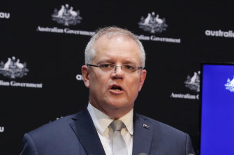 Prime Minister Scott Morrison addresses the media on Tuesday.