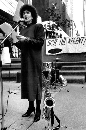 Clover Moore as the member for Bligh addresses a lunch time crowd  in Martin Place to help save the Regent Theatre in 1988.