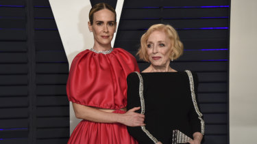 Sarah Paulson, left, and Holland Taylor at the Vanity Fair Oscar Party.