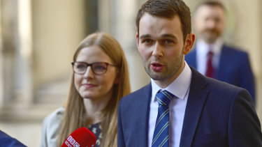 Ashers bakery owners Daniel and Amy McArthur talk to the media outside the Supreme Court in London on Wednesday.