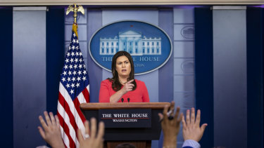 Sarah Huckabee Sanders, the White House press secretary, speaks to reporters during a briefing at the White House in Washington on Wednesday.