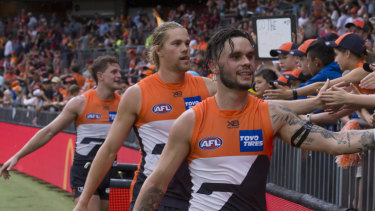 Battle in the west: Greater Western Sydney Giants player Zac Williams.