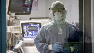 A doctor isolated in a COVID-19 intensive care unit in Pavia, northern Italy.